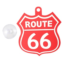 Route 66 PVC Hanging Tag for Windshield Red White-SehgalMotors.Pk