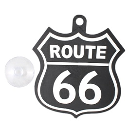 Route 66 PVC Hanging Tag for Windshield Black White-SehgalMotors.Pk