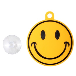 Smiley PVC Hanging Tag for Windshield Yellow-SehgalMotors.Pk