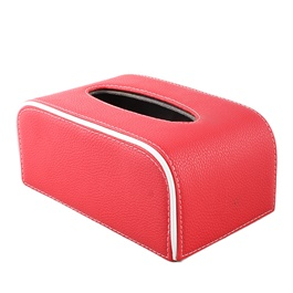 Fancy Red Leather Car Tissue Box  | Tissue Holder | Modern Paper Case Box | Napkin Container Tray | Towel Desktop-SehgalMotors.Pk