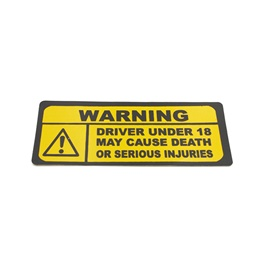 Drive Under 18 Warning Sticker Yellow-SehgalMotors.Pk