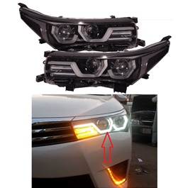Toyota Corolla U Shape LED Headlights - Model 2014-2017 (Made in Taiwan)-SehgalMotors.Pk