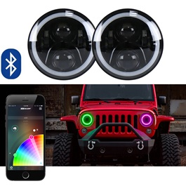 RGB Jeep LED Headlights Round Shape with Bluetooth - 7 Inches