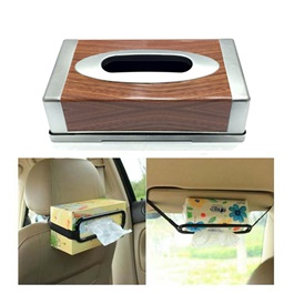 Car Tissue Box Silver and Wooden | Tissue Holder | Modern Paper Case Box | Napkin Container Tray | Towel Desktop