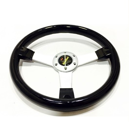 Momo Glossy Black and Chrome Steering-SehgalMotors.Pk