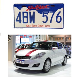 Number Plate Blue and White 4BW-576 - Each-SehgalMotors.Pk