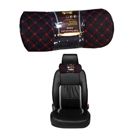 Neck Rest Pillow Round Sided Black with Red Stitching - Each-SehgalMotors.Pk