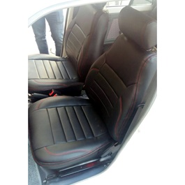Suzuki Mehran Seat Covers Black with Red Stitching in Lines