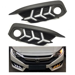 Honda Civic Fog Lamp DRL Cover V3 Mustang Style - Model 2016-2017-SehgalMotors.Pk