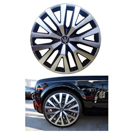Wheel Cups ABS Silver Black 14 inches - WD3-1SL-14