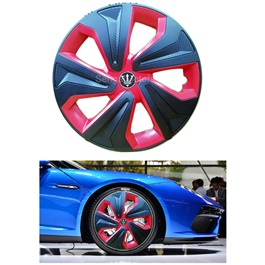 Wheel Cups / Wheel Covers ABS Black Red - 15 Inches Wk2-1RD-15-SehgalMotors.Pk