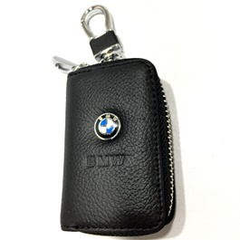 BMW Zipper Leather Key Chain / Key Ring Pouch-SehgalMotors.Pk