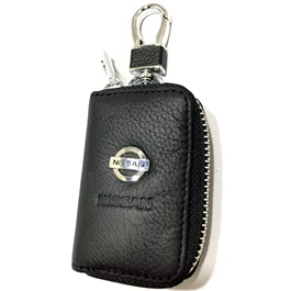 Nissan Zipper Leather Key Chain / Key Ring | Leather Car Key Wallets Keys Organizer | Keychain Covers Zipper Key Case Bag | Zipper Door Key Chain Organizer Key Pouch Case