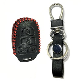 Toyota Corolla Leather Key Cover 4 Button with Key Chain / Key Ring- Model 2015-2016-SehgalMotors.Pk
