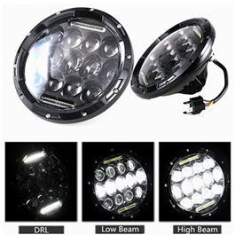 Headlights / Head Lamps Black with Small Projectors - 7inches-SehgalMotors.Pk