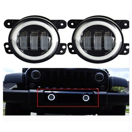 Jeep Led Fog Lamp Black White halo - 4 inches-SehgalMotors.Pk