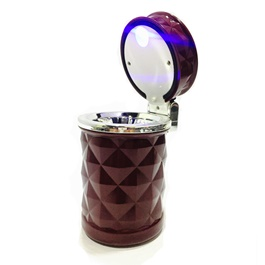 Portable Car Ashtray For Smokers Diamond  Design Maroon Color-SehgalMotors.Pk
