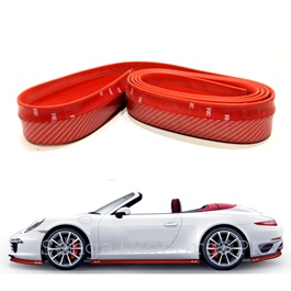 Rubber Lip Protector Carbon Fiber Red-SehgalMotors.Pk