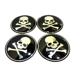 Skull Wheel Cap Logos - 4 Pieces-SehgalMotors.Pk