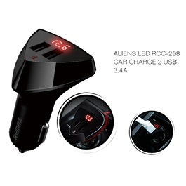 Remax Aliens LED Dual USB Car Charger with Voltage Display - 3.4A