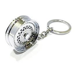 BBS Alloy Wheel Silver Key Chain / Key Ring | Key Chain Ring For Keys | New Fashion Creative Novelty Gift Keychains-SehgalMotors.Pk