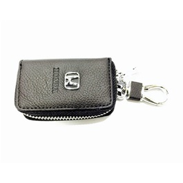 Honda Zipper Leather Key Chain / Key Ring Pouch-SehgalMotors.Pk