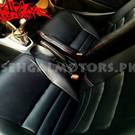 Japanese Leather Type Rexine Black With Red Thread And Gearbox Cover-SehgalMotors.Pk