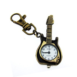 Guitar Clock Metal Key Chain / Key Ring | Key Chain Ring For Keys | New Fashion Creative Novelty Gift Keychains-SehgalMotors.Pk