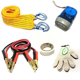 Car Emergency SOS Equipment Kit | Towing Strap Booster Jump Starter Cables Torch Gloves Fuse-SehgalMotors.Pk