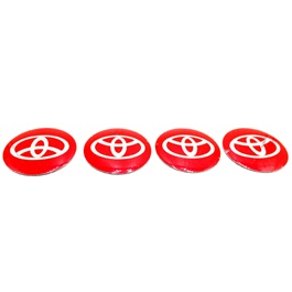 Toyota Wheel Cap Logo Red - 4 Pieces-SehgalMotors.Pk