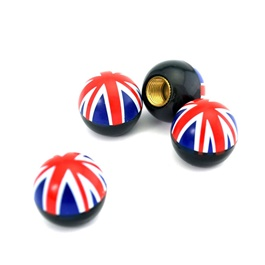 UK Flag Tire / Tyre Air Valve Nozzle Caps - 4 Pieces-SehgalMotors.Pk