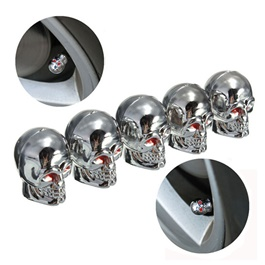 Skull Tyre Valve Caps Chrome - 4 Pieces-SehgalMotors.Pk