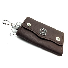 Honda Leather Key Pouch with Key Chain / Key Ring-SehgalMotors.Pk
