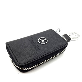 Mercedes Benz Zipper Leather Key Cover with Key Chain-SehgalMotors.Pk