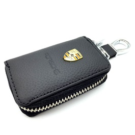 Porsche Zipper Leather Key Cover with Key Chain Black-SehgalMotors.Pk