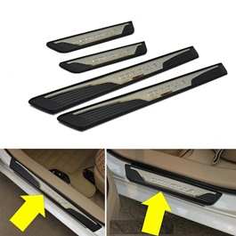 Toyota Corolla Black Chrome Sill Plates / Skuff LED panels-SehgalMotors.Pk