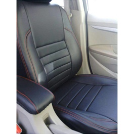 Toyota Corolla Seat Covers Black Straight Lines with Red Stitching - Model 2002-2008-SehgalMotors.Pk