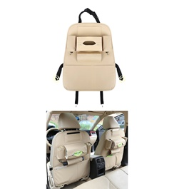 Back Seat Organizer Car Caddy in Leather Beige-SehgalMotors.Pk