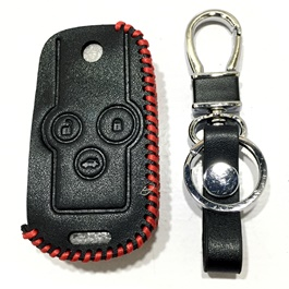 Honda Civic Leather Key Cover 3 Button with Key Chain / Key Ring - Model 2014-2015-SehgalMotors.Pk