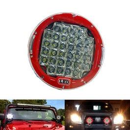 Jeep Red Fog Lamps / Fog Lights Large - Pair | Round Spotlight Pod Off Road Fog Driving Roof Bar Bumper For Jeep,Suv Truck, Hunters | Led Beams Led Bar Offroad 4x4 Car Light SUV Accessories Fog Lamp For Pickup Truck Jeep Wrangler | LED Work Light Car Spot Beam Driving Fog Lamp -SehgalMotors.Pk