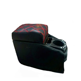 Black Leather Arm Rest with Red Stitching-SehgalMotors.Pk