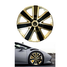 Wheel Cups / Wheel Covers ABS Matt Gold And Black 12 Inches WG1-7BK-12	-SehgalMotors.Pk
