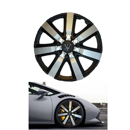 Wheel Cups / Wheel Covers ABS Black And Silver 12 Inches WGI-1SL-12-SehgalMotors.Pk