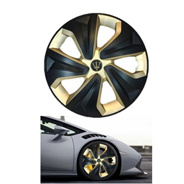 Wheel Cups ABS Black And Gold 14 Inches WK2-1GL-14	-SehgalMotors.Pk