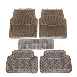 Universal Silicone Dark Brown 5 Pieces Floor Mats-SehgalMotors.Pk