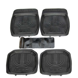 Universal Silicone Black Style B 5 Pieces Floor Mats	-SehgalMotors.Pk
