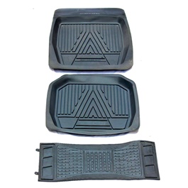Universal Silicone Black Style C 3 Pieces Floor Mats	-SehgalMotors.Pk