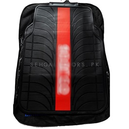 Black With Red Strip Floor Mat-SehgalMotors.Pk