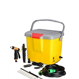 12v Portable Automatic Extreme Car Washer Bucket Style | High Pressure Washer Gun Pump Car Washer 25L Water Storage Bucket Portable Car Washer Cleaner Car Care Washing Auto Device-SehgalMotors.Pk