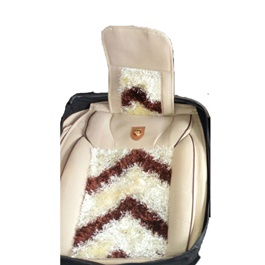 Fur Style Seat Cover White and Brown-SehgalMotors.Pk